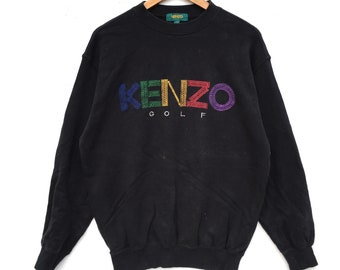 Vintage Kenzo Golf Sweatshirt Big Logo Multicolour Embroidery Sweat Medium Size Jumper Pullover Jacket Sweater Shirt Vintage 90's