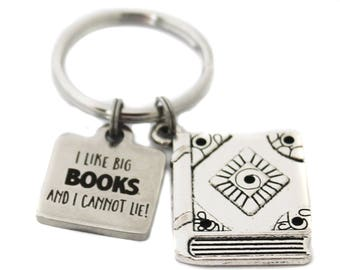 """Stainless Steel """"I Like Big Books And I Cannot Lie"""" Charm with an Antique Silver Tone Book Charm Key Chain, Keychain, BookBag Library School"""