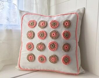 decorative pillow, Girls decor, baby girl decor, pink and white pillow, nursery bedding, Nursery pillow, Cotton Crochet pillow 18 x 18