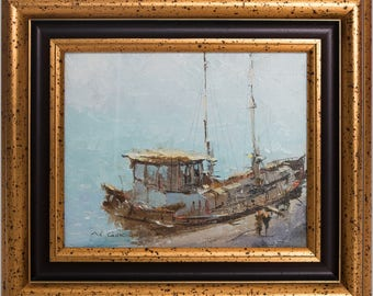 """Oil painting: """"In port"""" 2006."""