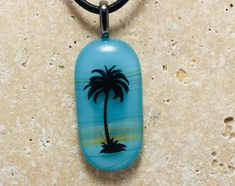 Aqua Palm Tree Pendant