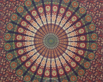Boho Queen Size Mandala Tapestry - Rust Peacock