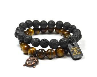 Tiger Eye and Lava Rock Bracelet Set