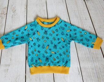 Handmade Casual Sweatshirt Blouse Hoodie Baby Kids Girls Boys Toddler Blue Bugs