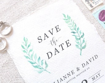 Watercolour Laurels Wedding Save The Dates - Greenery Wedding Save The Dates - Rustic Wedding Save The Dates