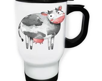 Wild Cow Animals Fun White Travel 14oz Mug o771t