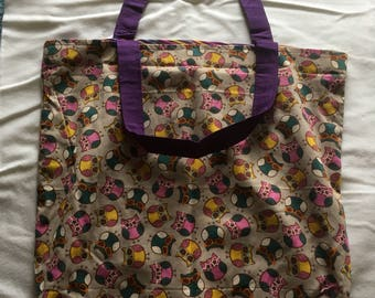 Owls and stripes reversible Tote bag