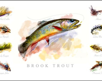 Brook Trout with Flies Watercolor Poster Print 19 x 13