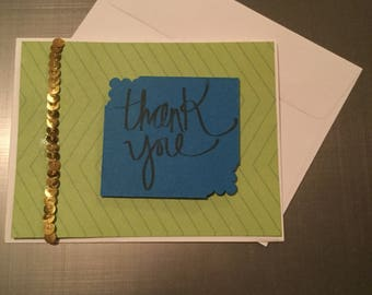 Thank You Card| Thank You with Sequins