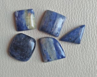 Amazing Blue Sodalite Gemstone 05 Pieces Lot Stones, Weight 119 Carat, Sodalite Size 25x23x8, 21x20x10, 24x21x7, 20x18x7, 26x15x7 MM Approx