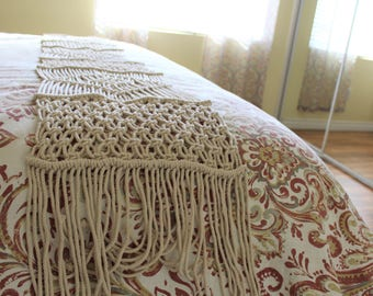 Handwoven Macrame Table Runner or Bed Runner - Bohemian & Indian Furniture Home Decor - Free Shipping