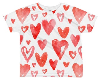 Valentines kids tshirt, red watercolor hearts, Valentine's day toddler t-shirt, valentines gift for preschooler