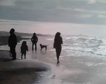 Oil Painting Evening Walk Katwijk