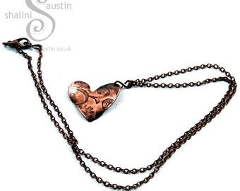 Copper Heart Pendant with Embossed Flowers | Copper Gifts Handmade in Stamford, Lincolnshire