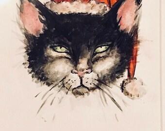 Bah Humbug!  Watercolour Cat Study