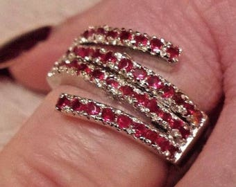 Sterling Silver Plated  Garnet Gemstone Wide Band Size 8
