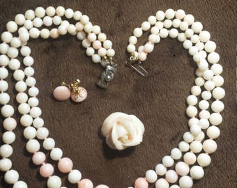 Estate vintage Angelskin coral - 3 strand necklace, rose pin/pendant and earrings