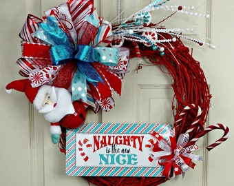 Naught is Nice Wreath, Holiday Wreath, Front Door Wreath, Door Wreath, Holiday Wreath, Whimsical Decor, Custom Door Wreath, Christmas Wreath