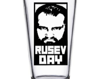 Rusev Day Happy Rusev Day  WWE NXT WWF Wrestler Wrestling Pint Wine Glass Tumbler Alcohol Drink Cup Barware Squared Circle
