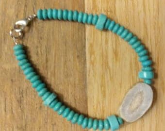 Turquoise and antler bead bracelet