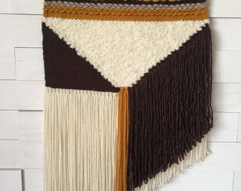 Large vintage inspired woven wall hanging