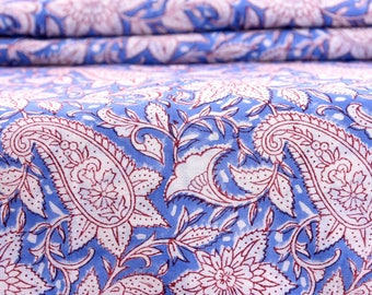 100% Pure Cotton Fabric Indian Handmade Block Printed Garment Fabric, Cloth Material Fabric, Cambric Hand Block Print Fabric voile By Yard