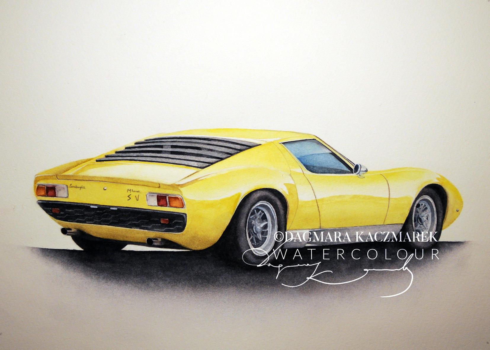 Lamborghini Miura original old car watercolour painting on