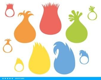 Trolls hair clipart silhouette – Trolls hair svg – Trolls svg file – Trolls monogram frame – raster, vector files – svg, pdf, png, dxf, eps