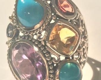 Samuel B Sterling Silver/18k Gold Sleeping Beauty Turquoise & Multi-Gemstone Ring