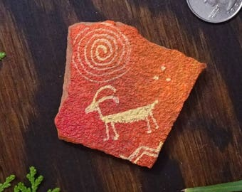 Sheep Pictograph. Hand Painted Sandstone Magnet. Southwestern Art.