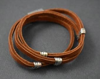 Bracelet - Wraparound double deerskin lace bracelet