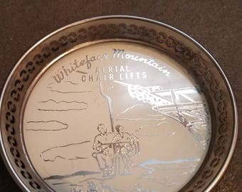 Metal commemorative coaster - Whiteface Mountain Aerial Chair Lifts - New York