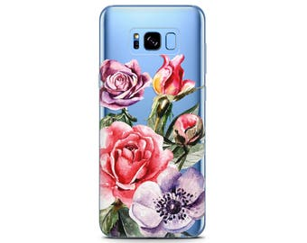 floral phone case pixel xl case tpu Rose case Samsung s8 plus flowers phone case pixel 2 sleeve Cute Galaxy s8 case clear Samsung case pixel