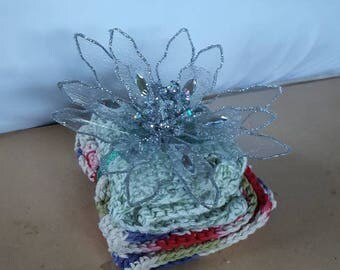 Gift set - 2 dishcloths and ornament, silver