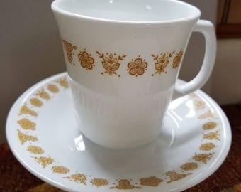 Butterfly gold mug tea set vintage cup antique tea cup corelle pyrex