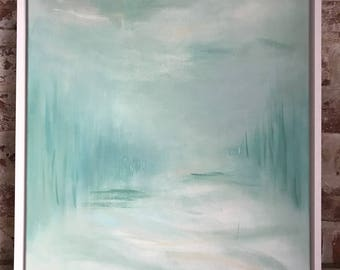 Hand painted original acrylic painting. Framed Seascape sea green, pale turquoise