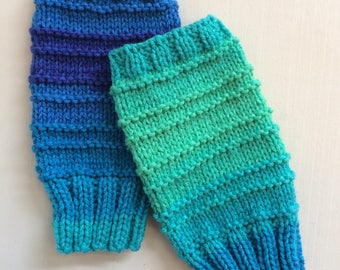 Blue and green fingerless wool gloves