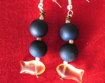 Earrings of Deep Metallic Blue Titanium Druzy with Translucent Goldfishes