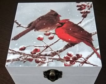 Birds and Cranberry's Wooden Jewelry Box  Handmade Box Wooden Casket Trinket Box Jewelry Box For You Gift Box Storage Casket