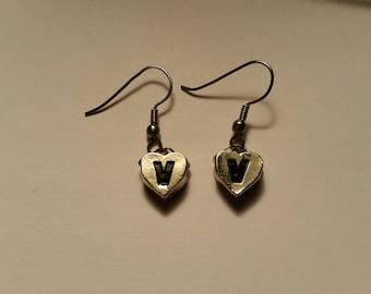 """Heart """"V"""" Earrings"""