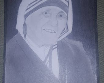 "Mother Teresa Pencil Portrait 9""x12"""