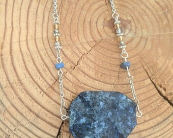 Deep Blue Stone Necklace with Light Brown Accents