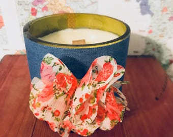 Torn Denim ( Light Blue) & Floral  Hand-Poured Soy Wax Candle