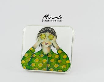 Girl with lemons,Ring,Real Cloisonne Enamel,Handmade Jewelry,Georgian unique enamel technique,Sterling silver,Best gift for woman