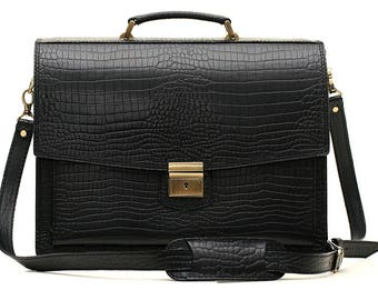 Black Crocodile Leather Briefcase Leather Business Bag Leather Laptop Bag Crossbody Bag Real Leather Bag Leather Cabin Bag Leather Messenger