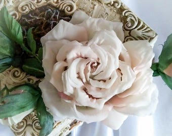 Wedding hair flower brooch rose hair clip accessories bridal gown women wreath of white rose wedding dress 2018 flower gift Champagne flower