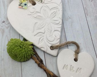 Handmade Clay Mothers day hanging heart.