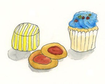 """Sweets, 5""""x7"""" print from an original watercolor and ink painting"""