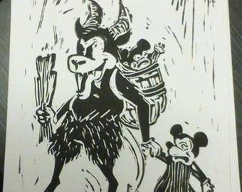 Cartoon Krampus Linocut print