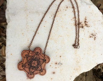 Metatrons Cube Necklace, Metatrons Cube Pendant, Boho Festival Necklace, Sacred Geometry Necklace